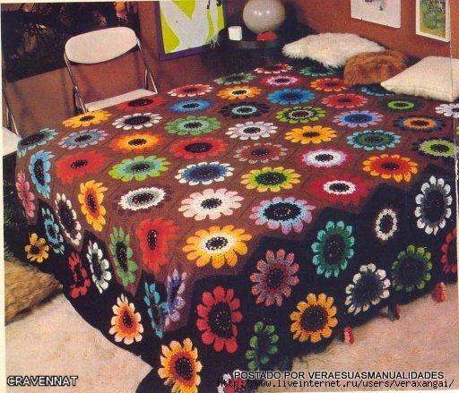 Crochê Gráfico: Colcha de squares florais