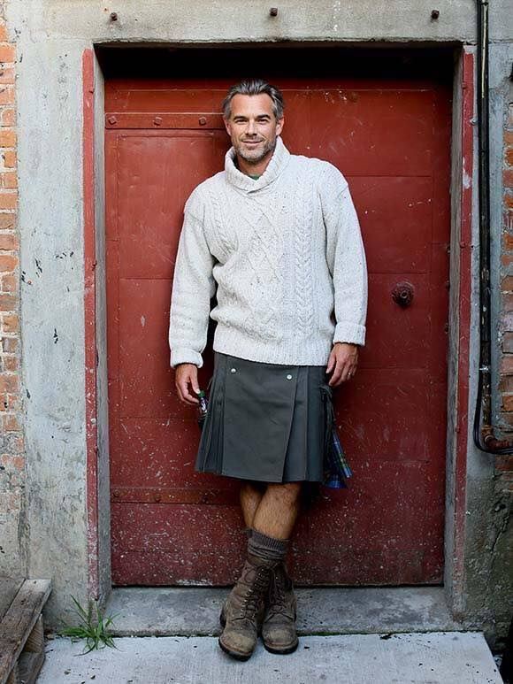 Silver Fox with sweater, kilt and boots…
