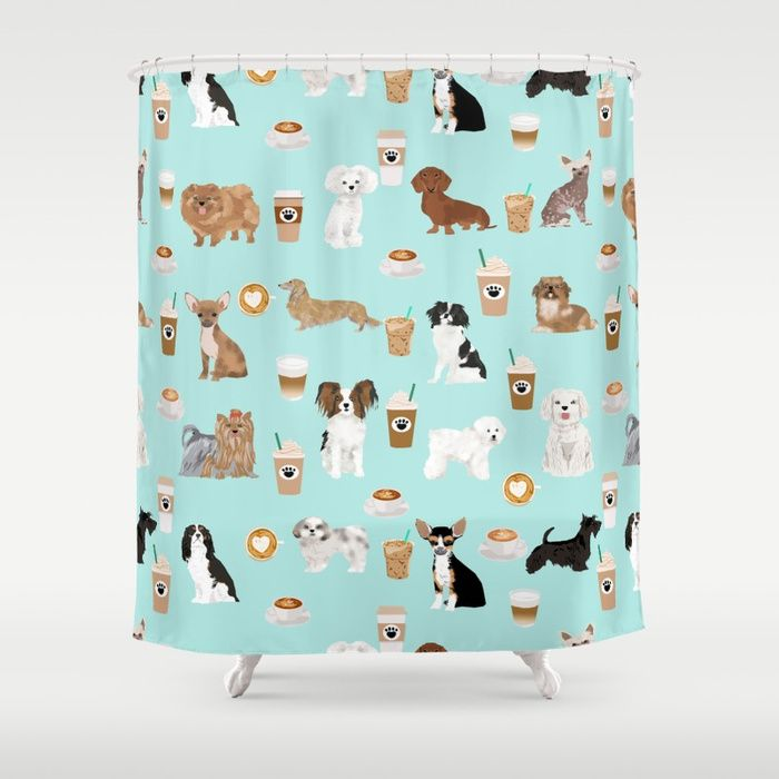 Buy Coffee Dogs Cute Miniature Dog Breeds Chihuahua Bichon Terrier Shih Tzu Pomeranian Latte Coffees Shower Curtain By P Dog Shower Dog Bathroom Miniature Dogs