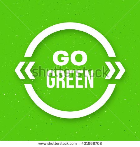 #Go #green #typographic #poster for #Earth #Day. Go green #text in white #quote #frame on craft paper background. #Motivation #banner. #Vector illustration