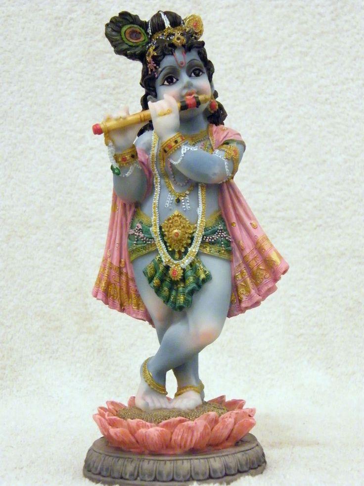 Indian Hindu God Baby Krishna Playing His Flute Statue