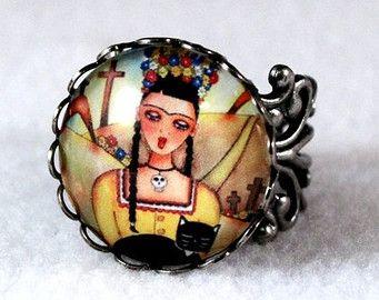 Día de los muertos anillo, arte mexicana Frida Kahlo, plata antigua de filigrana de joyería anillo Cocktail, lámina debajo del cristal, amarillo