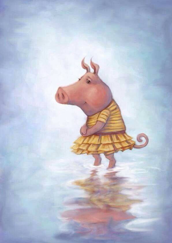 Another pig, paddling. By Robin Firth