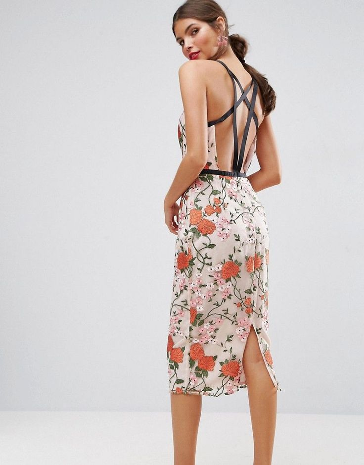 Get this Asos's midi dress now! Click for more details. Worldwide shipping. ASOS SALON Embroidered Floral Midi Dress with Contrast Straps - Multi: Midi dress by ASOS Collection, Sheer embroidered mesh, Lined design, V-neck, Grosgrain straps and trim, Strappy back, Kick split, Close-cut bodycon fit, Machine wash, 100% Polyester, Our model wears a UK 8/EU 36/US 4 and is 174cm/5'8.5 tall. Score a wardrobe win no matter the dress code with our ASOS Collection own-label collection. From polished…