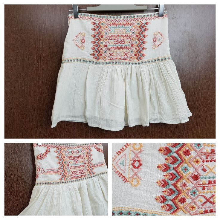 Buy yours today: Multicolored Thre..., visit http://ftfy.bargains/products/multicolored-thread-on-cream-short-skirt?utm_campaign=social_autopilot&utm_source=pin&utm_medium=pin  #amazing #affordable #fashion #stylish
