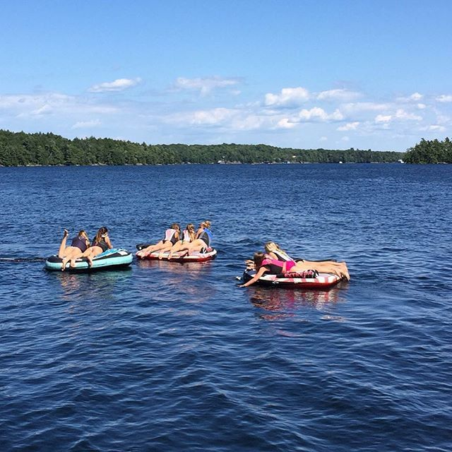 Pin for Later: You'll Want to Join Cindy Crawford's Family Lake Vacation After Seeing These Snaps  Rande captured the girls floating on the lake.