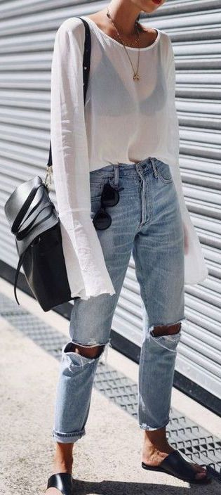 #summer #outfit / Transparent Bell Sleeve White Tunic + Ripped Jeans