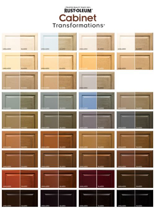 Rust-oleum Cabinet Transformations Color swatches both regular (like we did it) and with the glaze finish (which is included in the kit, we just didn't use it) @Patricia Kuehn @Jessica Kuehn-Hajder