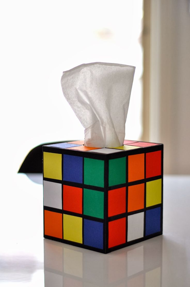 DIY: Rubik's Cube tissue box cover is sooo going on my desk (after I make it).