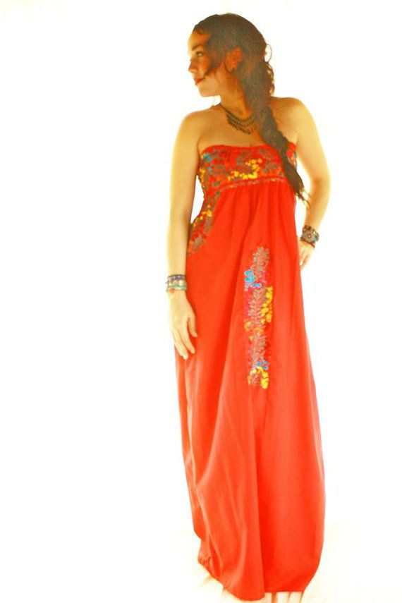 Mexican Dress embroidered strapless Candelaria San by AidaCoronado, $570.00