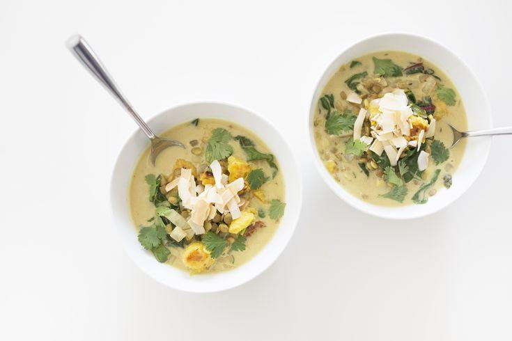 Spiced Lentil, Roasted Acorn Squash, & Coconut Milk Soup