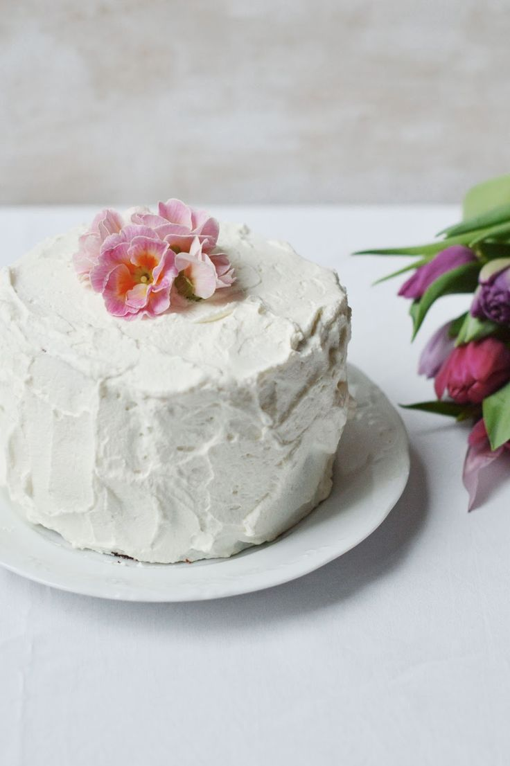 fork and flower: chestnut layer cake garnish with flowers