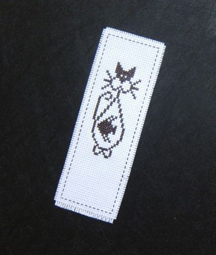 Cross-stitch-bookmark-B49-CUTE-CAT-FISH-finished-completed-handmade-unique