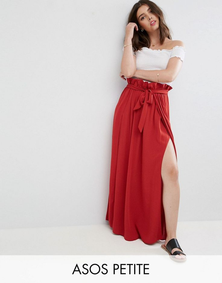 ASOS PETITE Maxi Skirt with Belt and Thigh Split - Brown