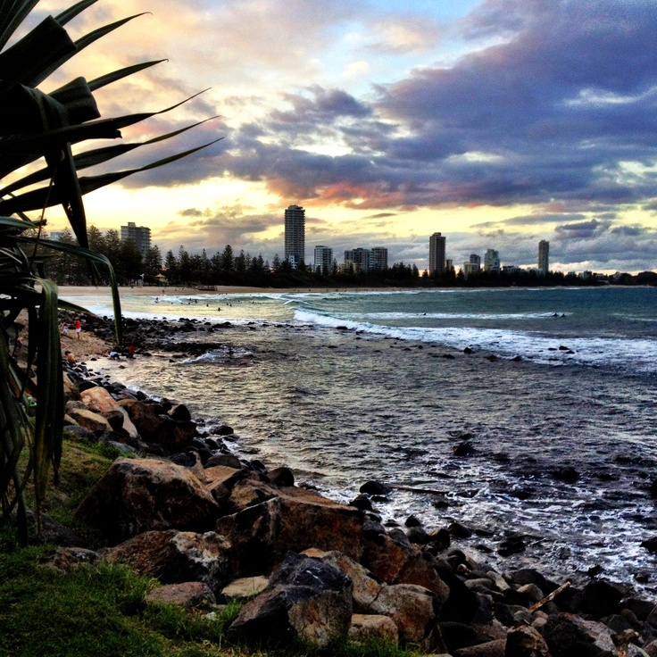 Burleigh beach at dusk