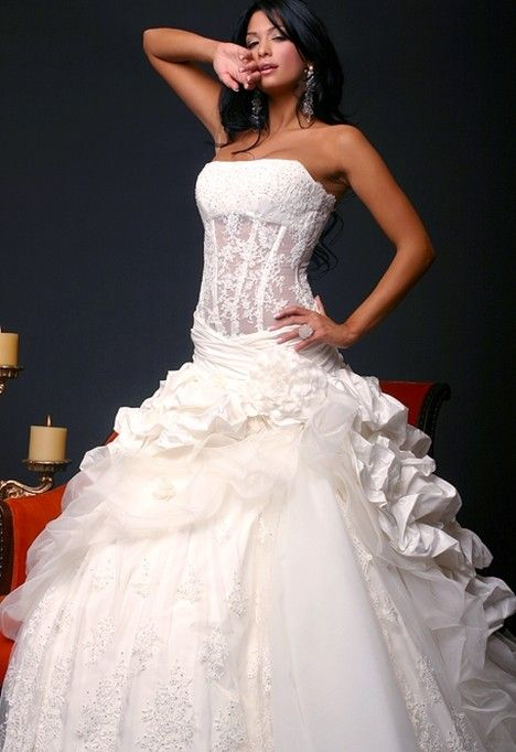 White Corset Wedding Dresses