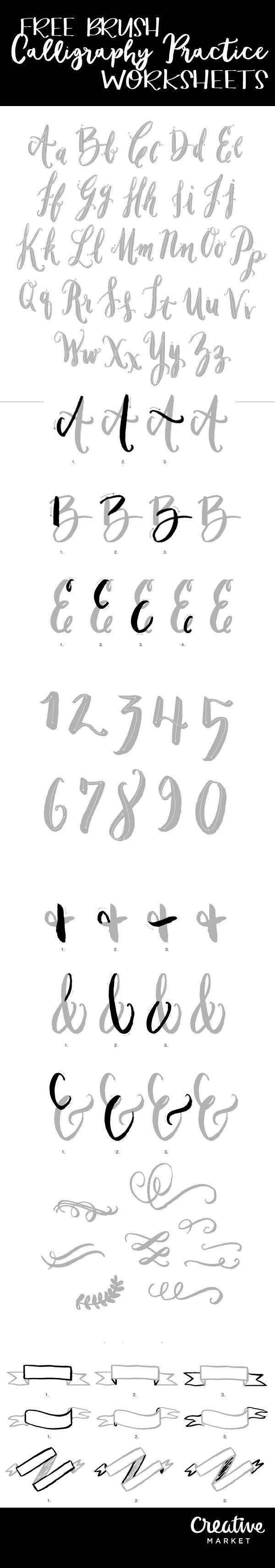 Free Brush Calligraphy Practice Worksheets! - Free Pretty Things For You                                                                                                                                                                                 More