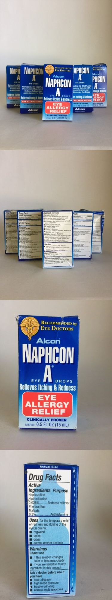 Eye Drops and Wash: 5X Alcon Naphcon A - Eye Allergy Relief Drops Itchy Red Eyes 15 Ml Ea 04/2017+ BUY IT NOW ONLY: $38.49