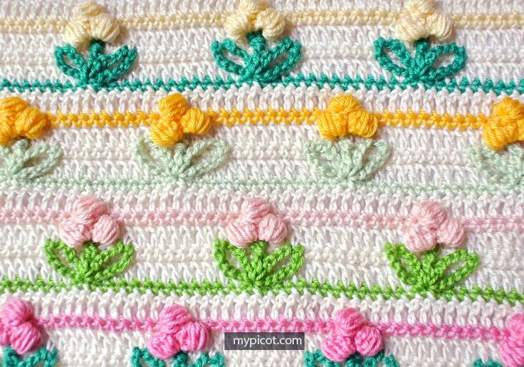 Crochet Puff Flower Stitch - free pattern @ MyPicot