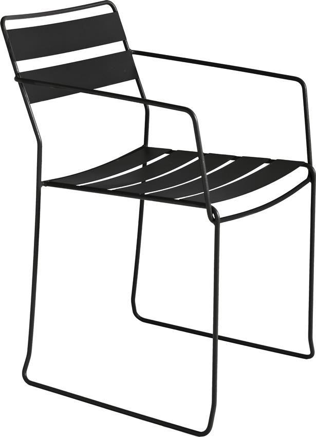 Straw stål stol med armstöd - svart