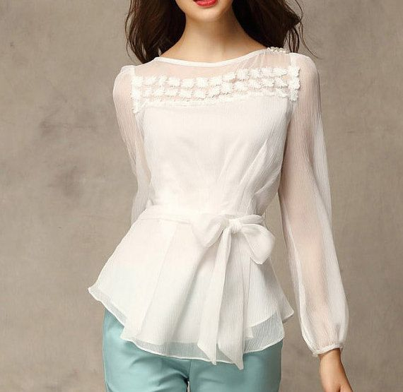 White Chiffon Blouse vintage lace blouse women blouse fashion shirt blouse