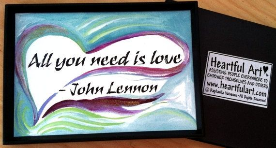 JOHN LENNON Magnet LOVE Inspirational Words by Heartfulart on Etsy, $7.95