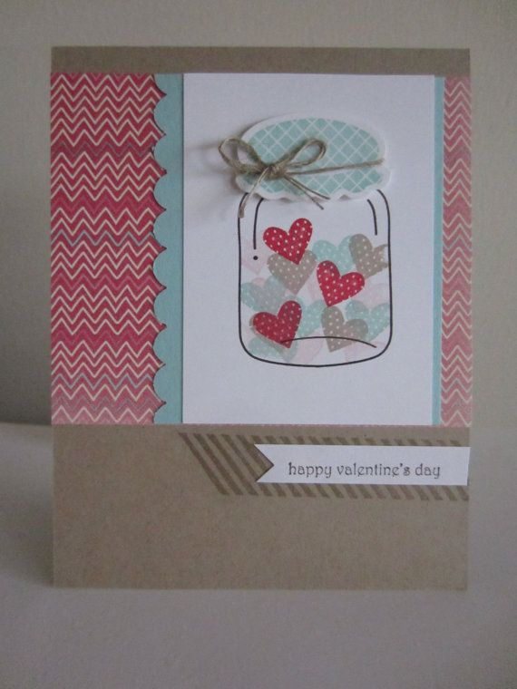 Mason Jar Valentine Love Card Handmade Hand Stamped Greeting Card Paper Crafts Card Stock Ball Jar Valentine's Day