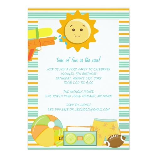 15 best Kids Pool Party Invitations images on Pinterest Birthday - birthday celebration invitation template