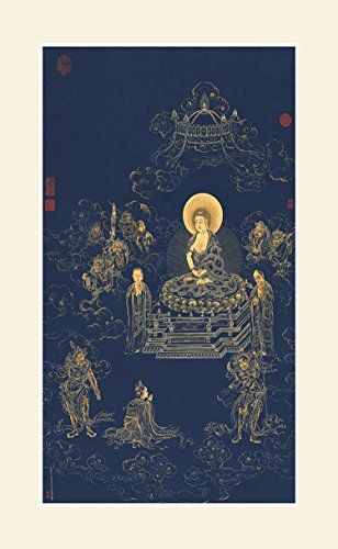 INK WASH Unframed Chinese Buddha Painting Gold Color Painted Buddha Artwork Wall Art Picture Decorations of Jizo Bodhisattva For Office Living room Ready to Hang ** Details can be found by clicking on the image.