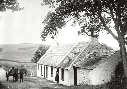 Neilston cottages with a milk float in the foreground. c.1900