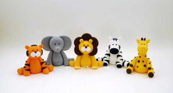 4 Edible Fondant Cake Toppers - Jungle Animals via Etsy
