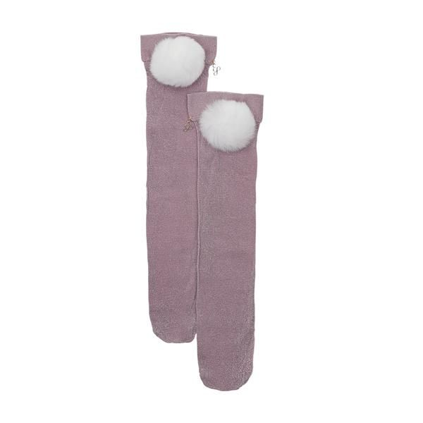 Fur Pom Pom Socks made of lurex and rabbit fur pom pom -Genuine rabbit fur -Hand wash and lay flat to dry -Includes hang tag with Edie Parker logo -Made in Ital
