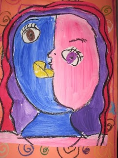 Love this simplistic way to have kids do some Picasso art!!!