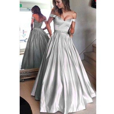 Silver Satin Off Shoulder A-line Prom Dresses, Zip Up Beaded Long Prom Dresses,PD190414 from Focusdress