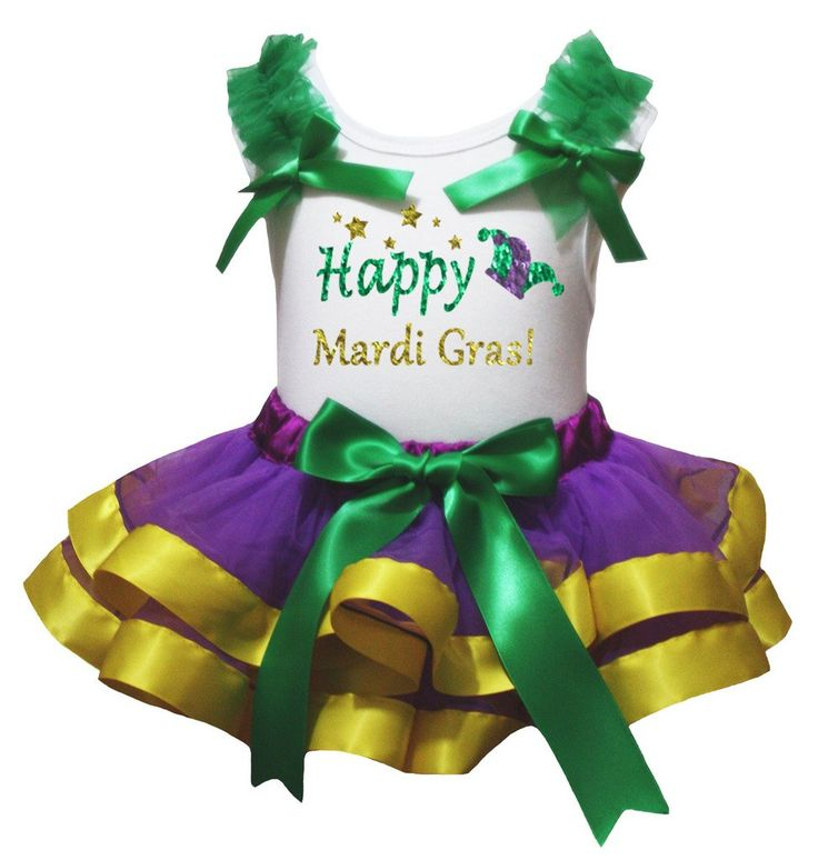 Petitebella Happy Mardi Gras Hat Shirt Purple Yellow Petal Skirt Set Nb-8y (3-12 Months). a shirt, a skirt. made by lightweight material. stretchy and comfortable cotton shirt. 4-layers fantastic skirt. outfit in happy mardi gras hat design.