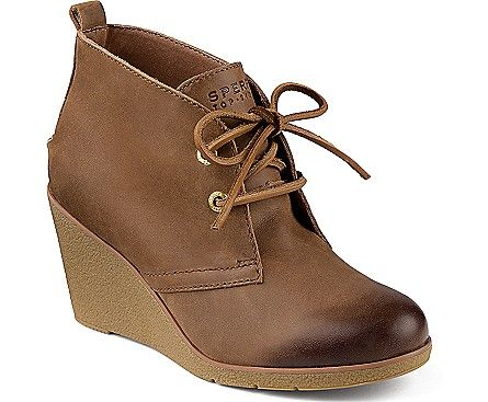 Sperry Women's Harlow Burnished Leather Wedge Bootie in Cognac