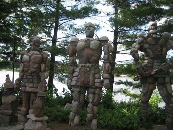 The city of Rockford, Illinois is symbolically protected by a quartet of fittingly stony sentinels