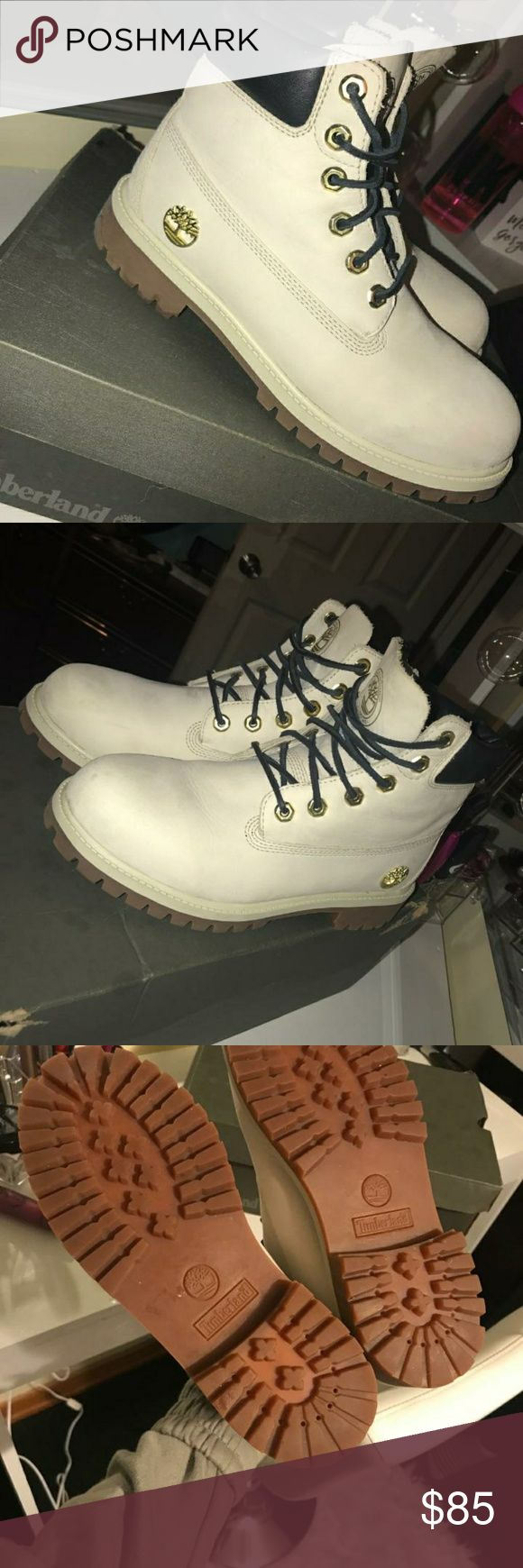 Size 6Y Timberland boots Size 6 in boys but fit size 8 in women's. Worn only once and in great condition. Price is pretty firm but can be negotiated down a little! Timberland Shoes Winter & Rain Boots