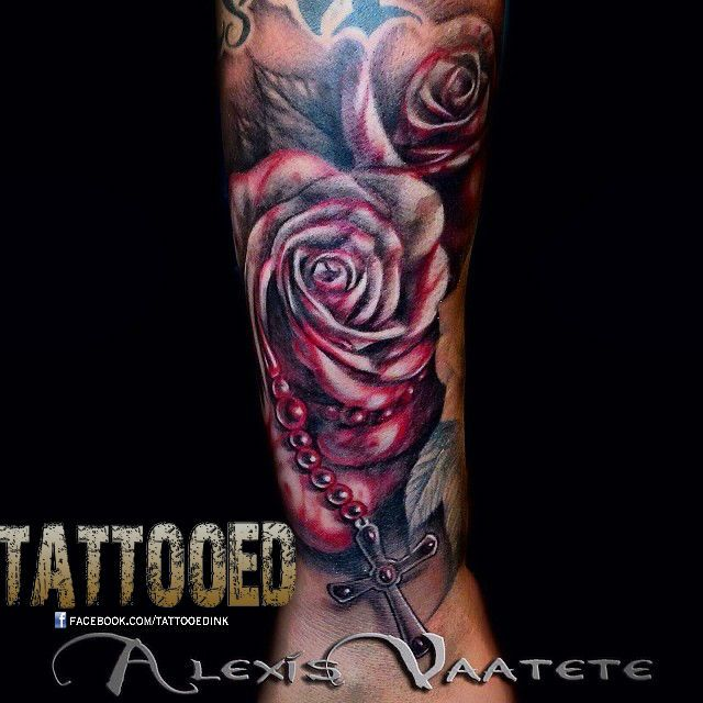 did a little blood rose and rosary combo last night outer forearm design alexis vaatete. Black Bedroom Furniture Sets. Home Design Ideas