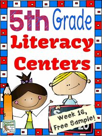 5th Grade Literacy Centers, AWESOME Free Sample INCLUDED