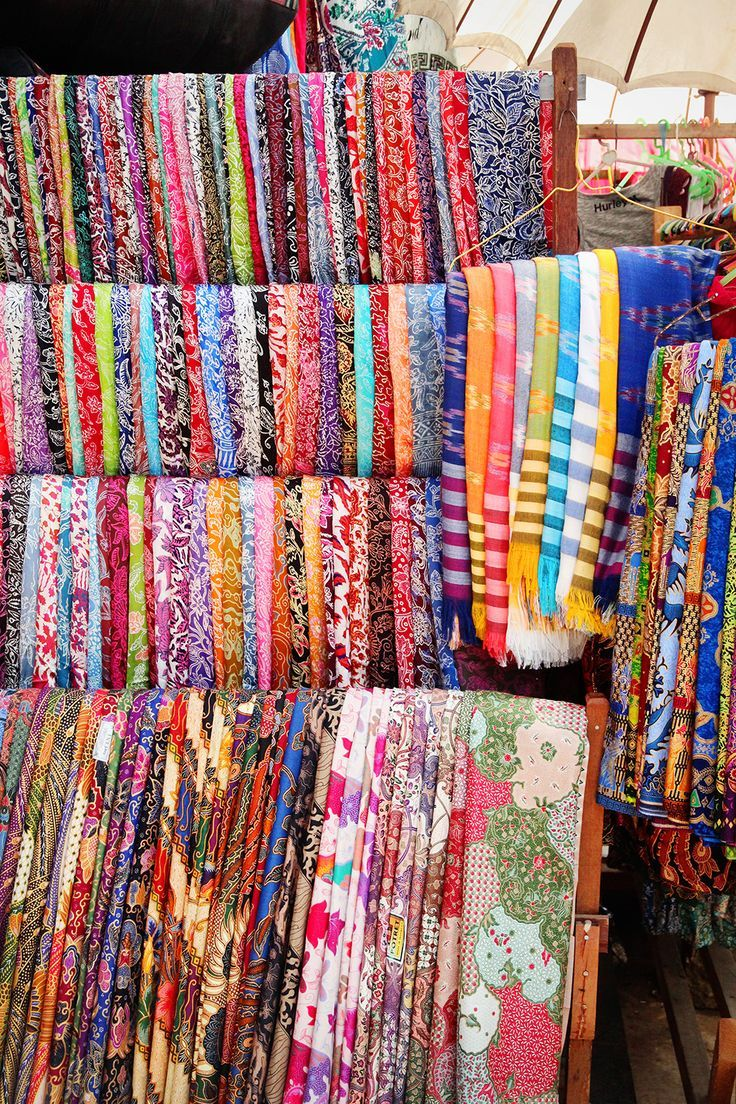 Brightly coloured fabrics in the Ubud markets, Bali, Indonesia.