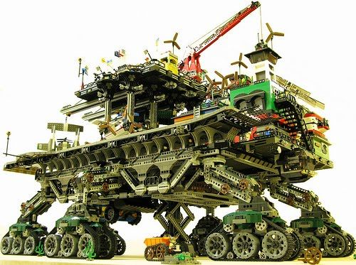 I'm currently reading Mortal Engines by Philip Reeve and was curious to see if anyone had done any Lego models of his imagined future world - they have!     Lego Traction Cities!