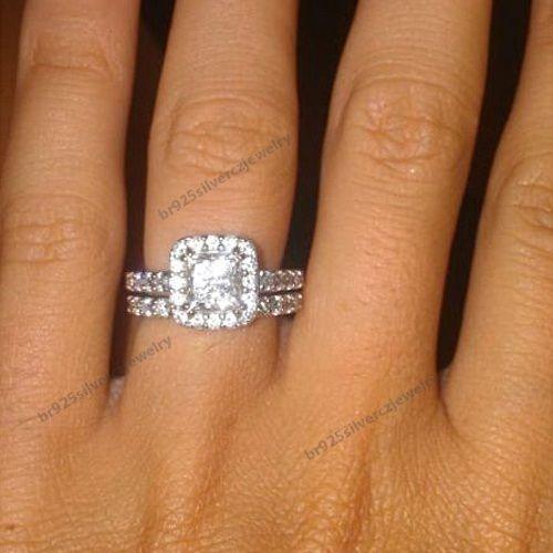 Women's 1.3/4 CT.T.W Princess-Cut Diamond Frame Bridal Ring Set In 925 Silver #br925silverczjewelry #WeddingEngagementAnniversaryBirthdayGift