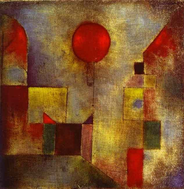 "Paul Klee, ""Red Balloon,"" (1922)  I love this painting! ""Everyone in the 20th century shouts, but Paul Klee whispers and we here him just the same."" <3"