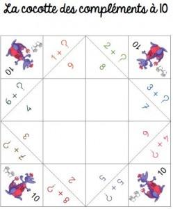 Maths CP : Cocotte des compléments à 10