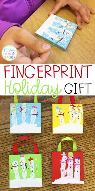 Holiday Gift for Parents from Kids Fingerprint Christmas Gift Fingerprint Snowma...