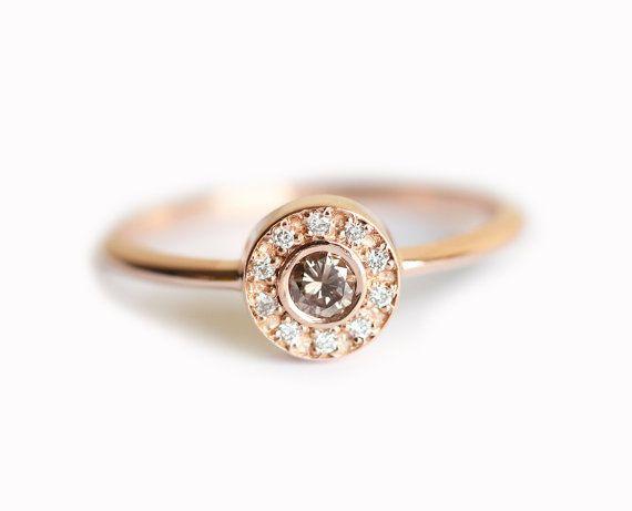 Halo Simple Halo anneau bague diamant rond bague de par MinimalVS                                                                                                                                                                                 Plus