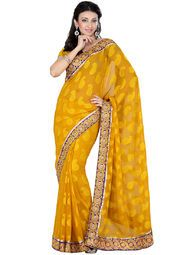 Yellow coloured embellished saree for women by Vivid India. Made from georgette, this saree measures 5.5 m in length, and comes with unstitched blouse piece of 0.8 m.