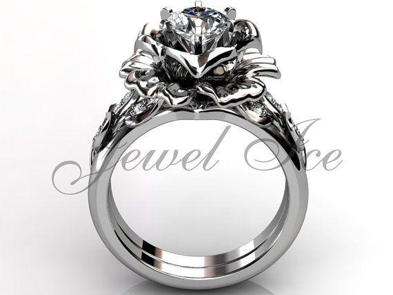 14 k white gold diamond ongebruikelijke unieke bloem door Jewelice