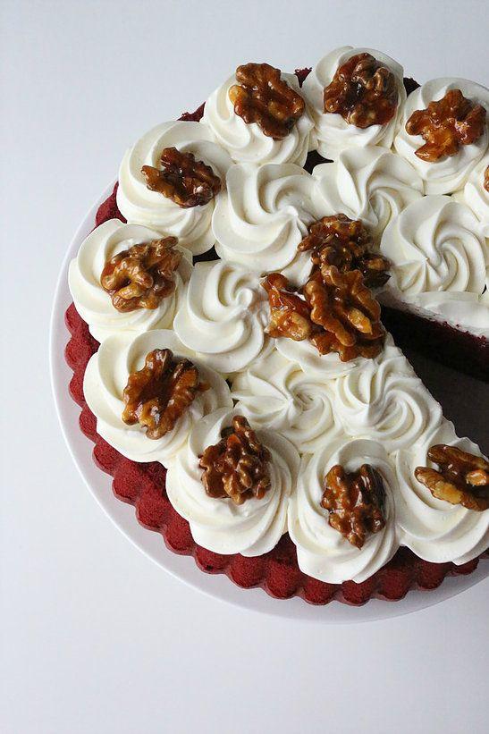 Bolo Torta Red Velvet com Nozes Caramelizadas | the-ombre-blueberry